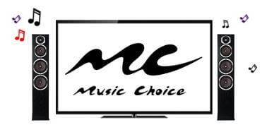 black and white music choice logo of flat screen tv with tower speakers