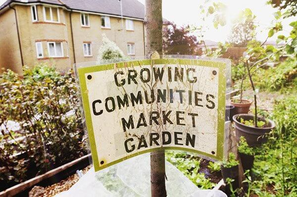 community garden sign standing in garden with tan building in the background